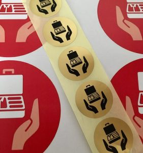 Gold Care stickers for boxes